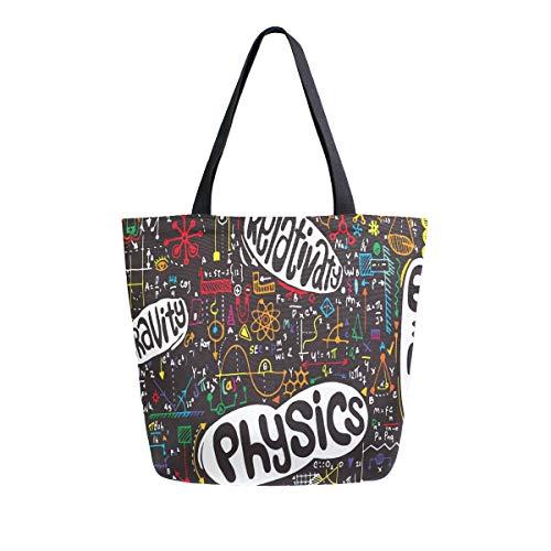 BIGJOKE Canvas Tragetasche Physik Bildung Große Frauen Casual Schultertasche Handtasche Wiederverwendbar Shopping Lebensmittel Tragbare Aufbewahrungstasche für Outdoor