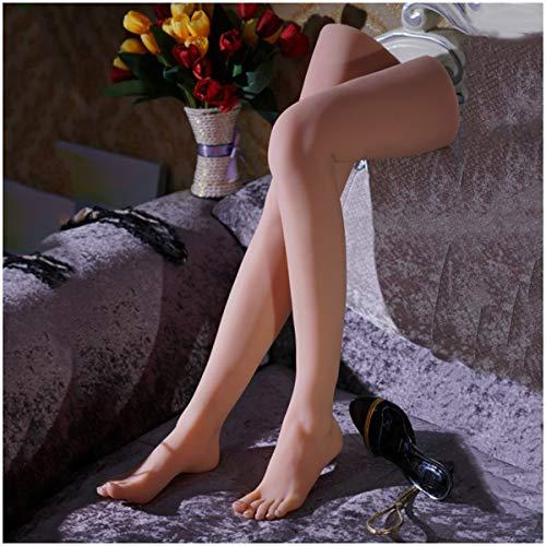 Silicone Vrouwelijk Voet Voeten Model Mannequin Life Size Voet met Knee als Sketch Nail Art Practice Sieraden Shoe Sock Weergave,Flesh