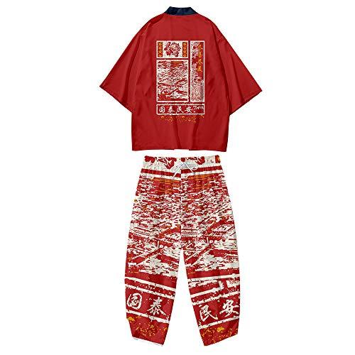 Conjunto de Chaqueta Kimono para Hombre,Pantalones Harem Casuales,Capa con Estampado Retro,Cárdigan Fino de Primavera y Verano de Estilo Japonés,Red-4XL