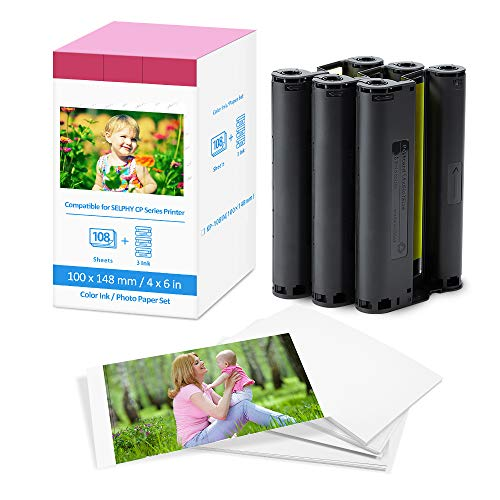 Papier Photo Remplacement Canon Selphy CP1300 CP1200 CP910 CP1000 CP740 Cartouche D'encre et Papier Photo KP-108IN Compatible avec Imprimante Canon Selphy CP, A6 Papier Photo (100 x 148 mm)