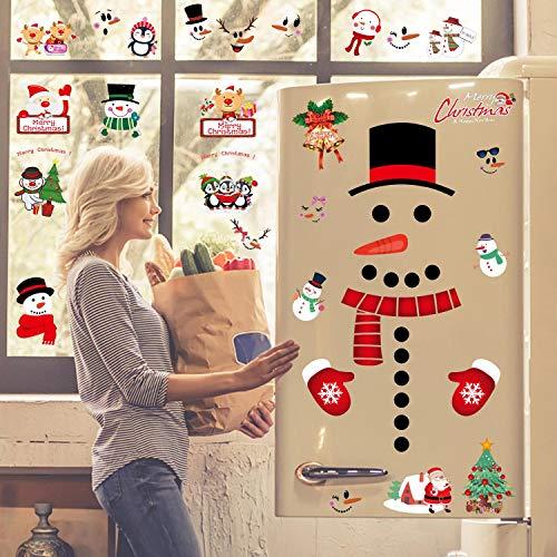 heekpek 6 Blatt Weihnachten Fensterbild Abnehmbare Fensterdeko Statisch Haftende PVC Aufkleber Winter Dekoration Schneeflocken Deko