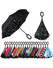 [Amazonブランド] Eono(イオーノ) 逆さ傘 逆転傘 逆折り式傘 自立て傘 長傘 C型手元 耐強風 UVカット 撥水加工 防強風 丈夫 晴雨兼用 車用 ビジネス用 遮光遮熱 父の日