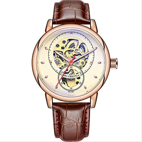 Mann Uhren Automatische Mechanische Uhren Männer Mode Hohlzifferblatt Uhr Casual Silber Edelstahl Whatch Clock braun rosa weiß