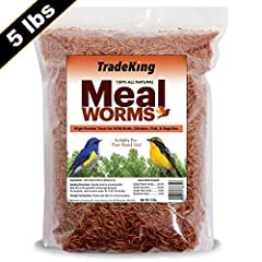 ✅ HIGH PROTEIN: Dried Mealworms are the perfect high protein treat for Wild Birds, Chickens, Reptiles, Fish & more! ✅ PETS FAVORITE: Common uses for mealworms include poultry taming, attracting wild birds, or adding a delicious high-protein treat to ...