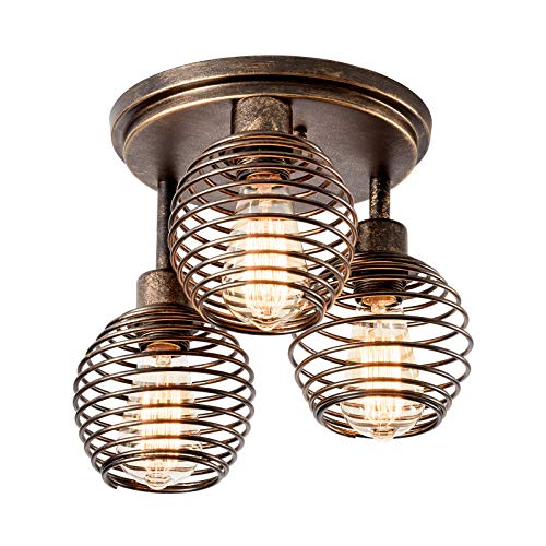 Lámpara de techo Industrial Retro de 3 Luces con Jaula de Hierro Forjado Hueca Vintage Kitchen Loft Bar Decorativa Lámpara de Interior (SIN B ombilla)
