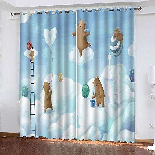 2er-Set Verdunkelungs Vorhang,Kinder Cartoon Bär Kinder Gardinen Ösen Gardine Thermo Polyester Schlafzimmer Vorhänge Tierbild Dekoratives Muster Européen 160 x 140 cm (HxB)
