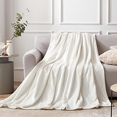EHEYCIGA Manta Sofa Mantas para Sofa Crema 130x165 cm Microfibra Suave Acogedora Manta de Lujo para la Cama