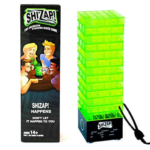 ShiZap! The Energized Stacking Block Game - Electric Shocking Light Up Tumble Tower - Family-Friendly Party Games for Teens and Adults