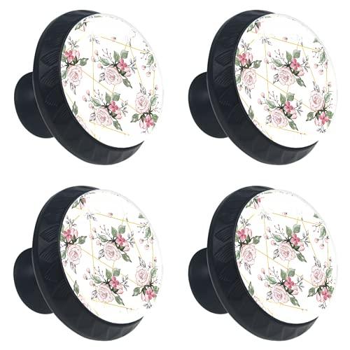 KAMEARI 4 pomos para cajones con forma de círculo, color rosa, acuarela, diseño floral, rosa, con tornillos, para el hogar, la cocina, la oficina