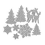 WuLi77 Weihnachtsbaum-Schneeflocke-Rotwild Metall Stanzschablone Die Stanzen Zum Basteln Von Karten,...
