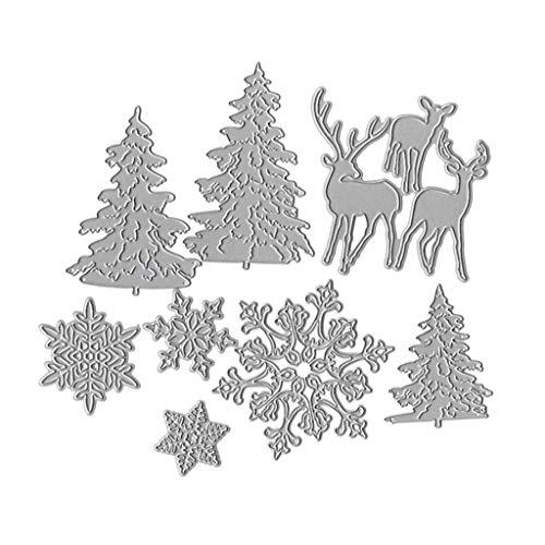 WuLi77 Weihnachtsbaum-Schneeflocke-Rotwild Metall Stanzschablone Die Stanzen Zum Basteln Von Karten, Prägeschablone Für Scrapbooking, DIY Album, Papier, Karten, Kunst, Dekoration
