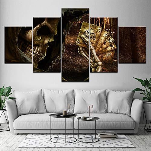 WJDJT Bilder 200X100Cm 5-Teilig Leinwandbilder Hd Print Totenkopf Mit Gekreuzter Knochen Dekorative Gemälde Auf Leinwand Wandkunst Für Hauptdekorationen Wand Dekor Bild (Kein Rahmen)