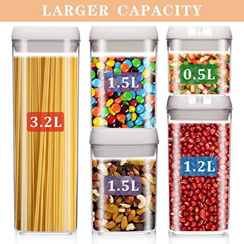 BCOKI - Juego de 5 recipientes herméticos de almacenamiento de alimentos, plástico duradero - libre de BPA