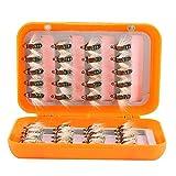 1 * Caja de Moscas de Pesca con Mosca - 40 Piezas de Moscas de Pesca con Mosca realistas, Moscas de Trucha, anzuelos, Caja de Kit de Pesca con Mosca(Verde)