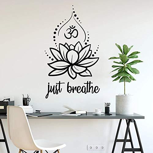 Just Breathe Wall Decal Lotus Yoga Hindú Relajación Meditación Decoración Etiqueta