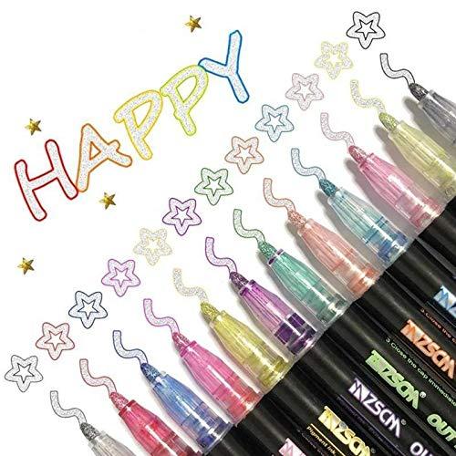 XTBL Neueste Outline Stift,Metallic Marker Pens Magische Stifte Glossy Magic Pens Wasserfester Stift Geschenkkarte Schreiben von Zeichenstiften zum Geburtstagsgruß (12 Farbe, 5.2)