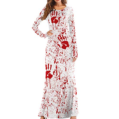 Kalmstore Scary Halloween Blood Print Maxi Dress Bloody Long Sleeves Round Neck Party Slim Long Dress (L/XL, White)