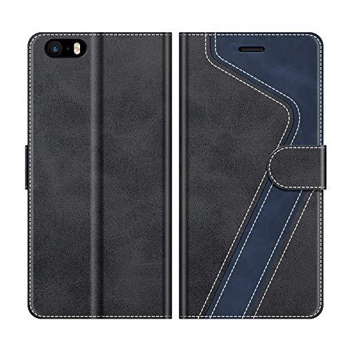 MOBESV Coque pour iPhone 5S, Housse en Cuir iPhone SE, Étui Téléphone iPhone SE Magnétique Etui Housse pour iPhone SE/iPhone 5S, Élégant Noir(Non Compatible avec iPhone SE 2020)