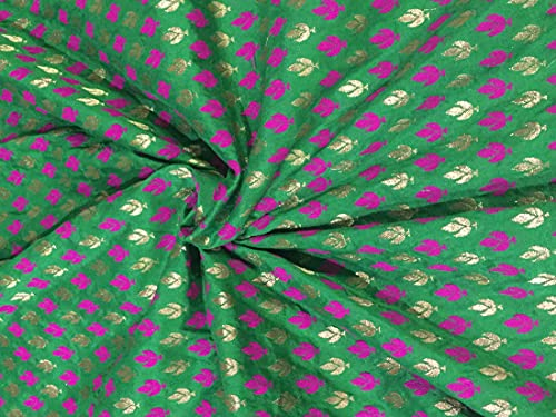 The Yard - Tela de brocado de seda, color verde, rosa y dorado antiguo, 100,9 cm BRO291[1]