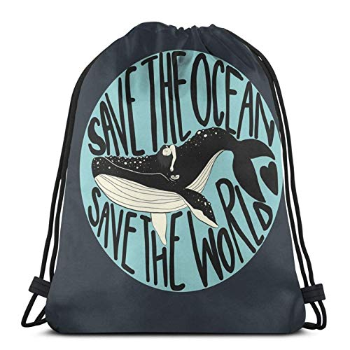 Hdadwy Save The Ocean Save The World Sport Bag Gym Sack Drawstring Backpack for Gym Shopping