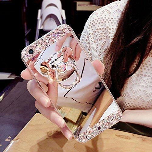 Uposao Cover Galaxy J5(2016) Glitter, Orso Placcatura Specchio Bling Glitter Scintillio Strass Diamante Silicone Gel TPU Skin Cover Shell Protettiva per Samsung Galaxy J5(2016)-(Silver)