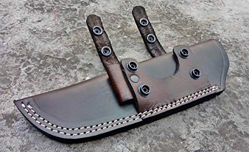 Ottoza Handmade Leather Knife Sheath Right Hand Bushcraft Knife Sheath - Hunting Knife Sheath - Survival Knife Sheath - Fixed Blade Knife Sheath Horizontal Carry Dark Brown TOP Grain Leather No:44