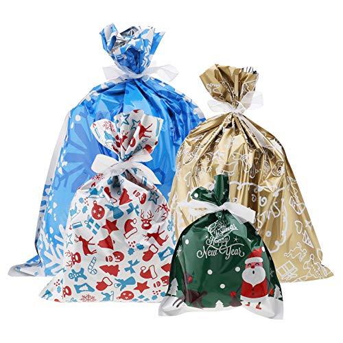 Create Idea 30-TLG. Weihnachts Geschenk Beutel mit Bindeband Set 4 Sortiert Größe Unter dem Baum Party Aufbewahrung Klassenzimmer Dekoration