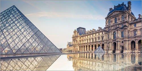 Posterlounge Cuadro de metacrilato 100 x 50 cm: Louvre In The Early Morning Hours de Sascha Kilmer