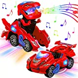 AMENON Transforming Dinosaur Car Toys with LED Light Music Automatic Deformation Dino Race Car Easter Toys for Kids Boy Girls Toddlers 3 Year Old and Up Birthday Holiday Easter Toy Gifts