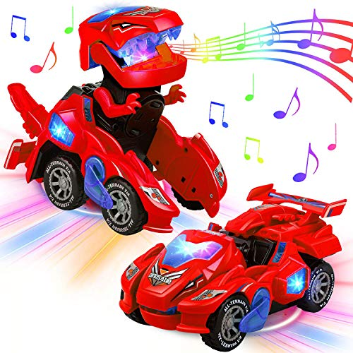 AMENON Transforming Dinosaur Car Toys with LED Light Music Automatic Deformation Dino Race Car Xmas Toys for Kids Boy Girls Toddlers 3 Year Old and Up Birthday Holiday Christmas Toy Gifts