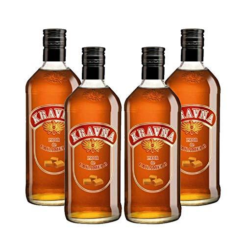 Vodka Kravna Caramelo de 70 cl - Bodegas Grupo Estevez (Pack de 4 botellas)