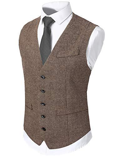 WHATLEES Chaleco estrecho de tweed para hombre con dos filas de botones. marrón L