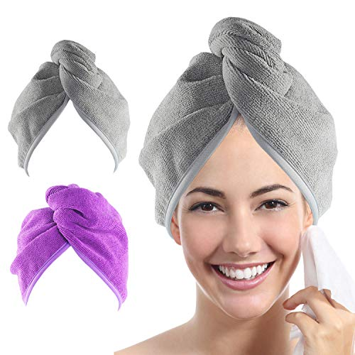 YoulerTex Microfiber Hair Towel Wrap for Women, 2 Pack 10 inch X 26 inch, Super Absorbent Quick Dry Hair Turban for Drying Curly, Long, Thick Hair(Purple+Gray) …