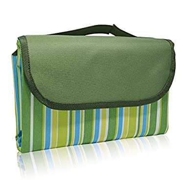 WETONG Foldable Picnic Blanket Waterproof Beach Camping Outdoor Blanket Mat for Outdoor Beach Hiking Grass Travelling 80  x 58  (ArmyGreen)