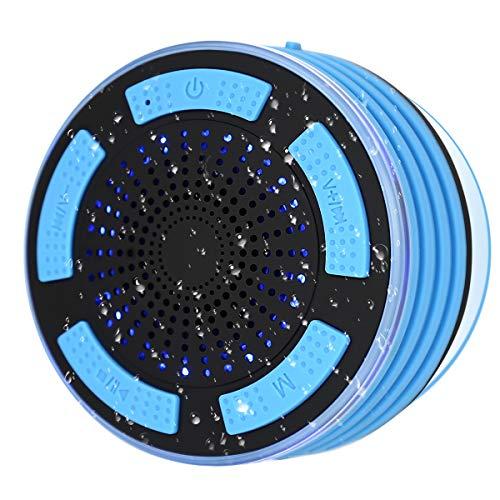 Altavoz Bluetooth Radio de Ducha Altavoz Inalambrico Portátil con LED y Ventosa, súper bajo y Sonido HD, Micrófono Integrado, IPX7 Impermeable para Playa, Piscina, Cocina y Hogar