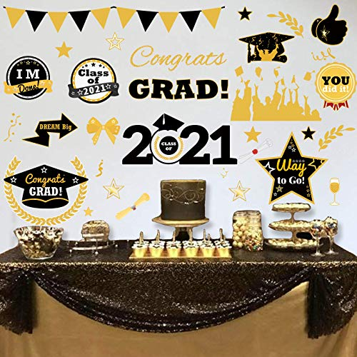 Ivenf Graduation Stickers Wall Decorations, Extra Large School Home Congrats Grad Party Supplies Decals, Class of 2021 Window Decor Gifts, 6 Sheet