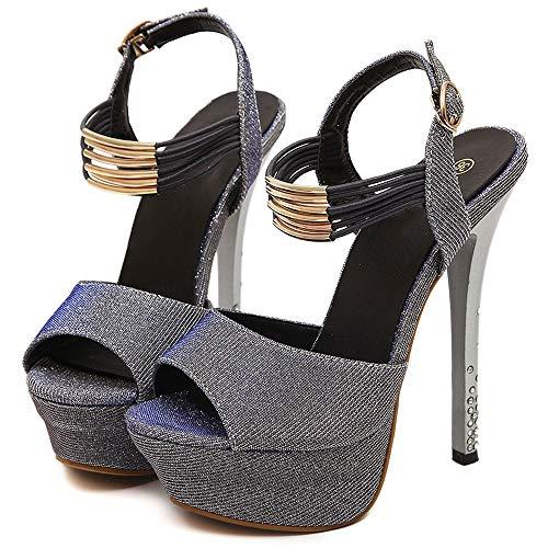 Sandalias de diamantes de imitación de boca de pez Zapatos de mujer Sexy Super 14CM Plataforma impermeable fina de tacón alto con hebilla Zapatos de corte de discoteca Bombas Verano