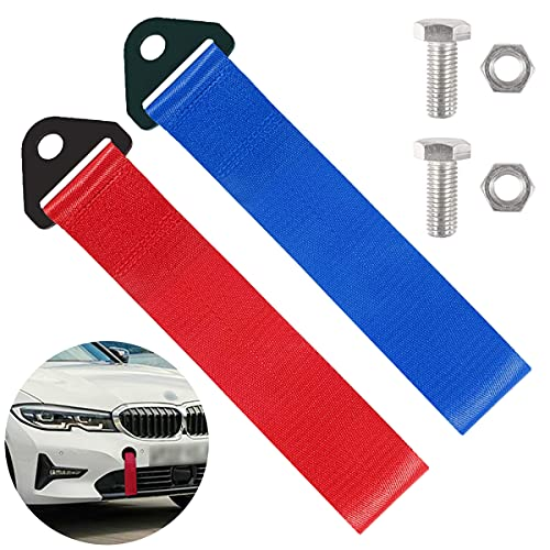 2 Stück Abschleppschlaufe Abschleppöse, Racing Auto Anhänger Abschleppband Tuning für BMW JDM, Universal Auto Abschleppseile Abschlepphaken Tow Strap, Rot Blau Abschleppgurt Zuggurt Rennsport Zubehör