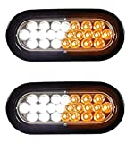 Qty. 2, Buyers Products SL66AC-x2, 6' OVAL, AMBER / CLEAR, 24 LED, RECESSED STROBE LIGHT & GROMMET for Tow Truck, Wrecker, Emergency Vehicle, Safety, Warning, Construction Truck