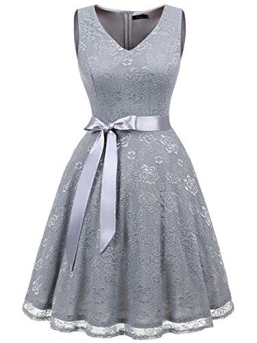 IVNIS IVNIS RS90025 Damen Ärmellos Vintage Spitzen Abendkleider Cocktail Party Floral Kleid Grey2 2XL