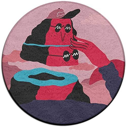 Zerbino antiscivolo Creativo Grassetto Montagne Illustrazioni Velluto corallo Tappeti per area rotonda Tappetini in memory foam Tappetino per camera da letto Tappetino per sedia da yoga