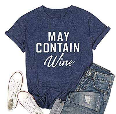 FAYALEQ May Contain Wine Funny T-Shirt Women's Letter Print Casual Tee Short Sleeve Tops