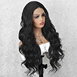 K'ryssma Dark Brown Lace Front Wig with Middle Part Wavy Synthetic Wig Long Wigs for Women