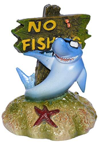 Supa No Fishing Sign, Shark Aquarium/Fish Tank Ornament | Realistic Detail | Approx. 6.5cm(L) x 7cm(W) x 8.5cm(H)