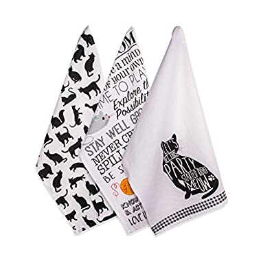 DII Cotton Decorative Pet Lover Dish Towel 18 x 28  Set of 3, Oversized Kitchen Dish Towels, Perfect Mother's day, Hostess, Housewarming Gift-Cat's Meow
