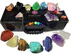 ✅ Chakra therapy healing crystals and stones-7 raw chakra stones, 7 colorful gemstones, amethyst cluster, rose quartz pendulum are hand selected for your best healing practice. ✅ Chakra lava essential oil diffuser bracelet-Enjoy your favorite scent w...