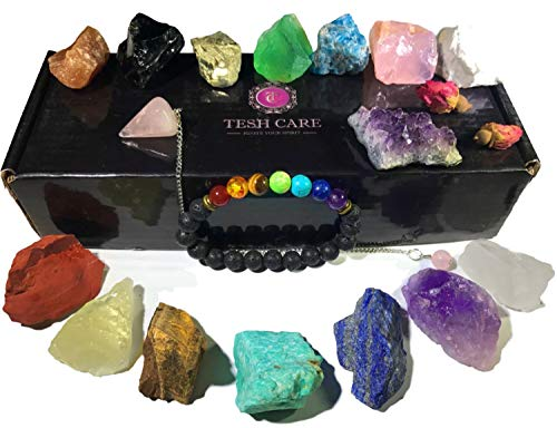 Chakra Therapy Collection(Small) 17 pcs Healing Crystal kit, 7 Raw Chakra Stones,7 Colorful Gemstones,Rose Quartz Pendulum, Chakra Lava Bracelet, Roes, Guide, COA, Best Value, Gift Ready