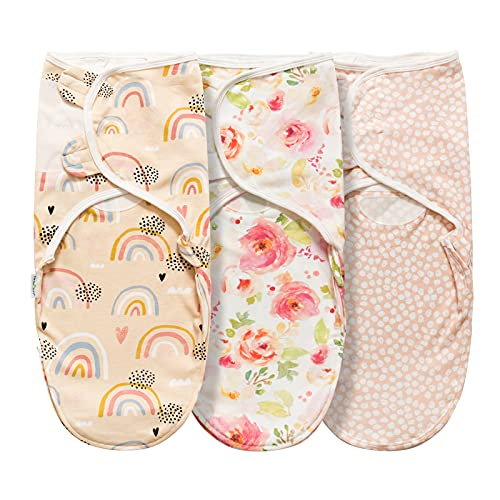 Swaddle Blanket for Baby Girl Boy Easy Change Infant Wrap 3 Pack Adjustable Sleep Sack for Newborn Babies 0-3 Month (Rainbow and Flowers)