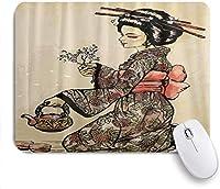 マウスパッド 個性的 おしゃれ 柔軟 かわいい ゴム製裏面 ゲーミングマウスパッド PC ノートパソコン オフィス用 デスクマット 滑り止め 耐久性が良い おもしろいパターン (ティーポットで着物姿の伝統的な日本人女性)