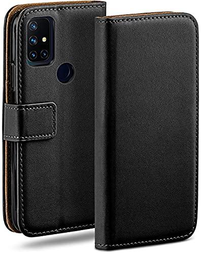 moex Klapphülle kompatibel mit OnePlus Nord N10 5G Hülle klappbar, Handyhülle mit Kartenfach, 360 Grad Flip Hülle, Vegan Leder Handytasche, Schwarz